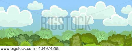 Seamless Forest. Treetops And Sky. Illustration Nature Landscape. Dense Foliage. Summer. View Of The