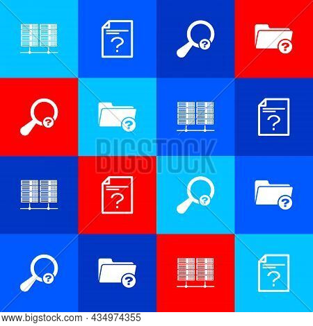 Set Server, Data, Web Hosting, Unknown Document, Search And Directory Icon. Vector