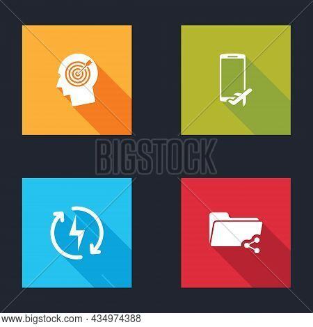 Set Head Hunting Concept, Flight Mode The Mobile, Recharging And Share Folder Icon. Vector