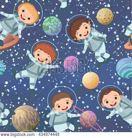 Children Astronauts In Spacesuits. Kid. Cosmos Background. Seamless Pattern. Childrens Illustration.