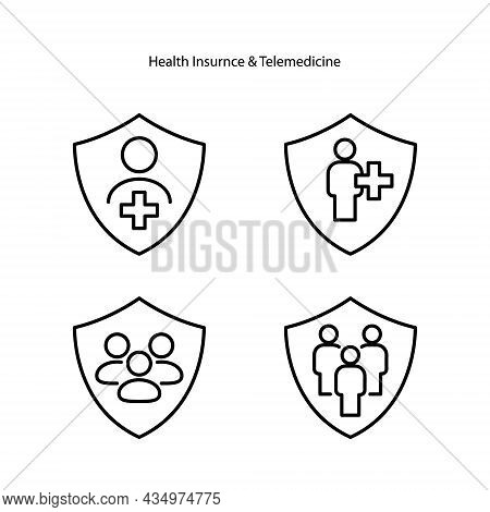 Health Insurance Icons Set Isolated On White Background. Health Insurance Icon Thin Line Outline Lin