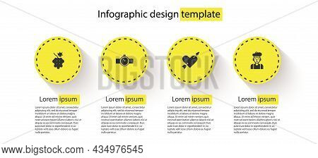 Set Grape Fruit, Wrist Watch, Amour With Heart And Arrow And French Man. Business Infographic Templa