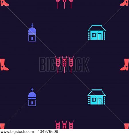 Set Ukrainian House, Church Tower, Wheat And Footwear On Seamless Pattern. Vector