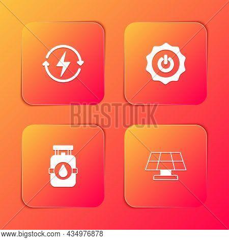 Set Recharging, Power Button, Propane Gas Tank And Solar Energy Panel Icon. Vector