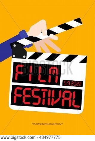 Movie And Film Poster Design Template Background With Film Slate. Can Be Used For Backdrop, Banner,