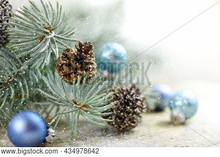 Christmas Background With Christmas Toys, Green Fir Tree Branches, Christmas Card, Free Space For Ch