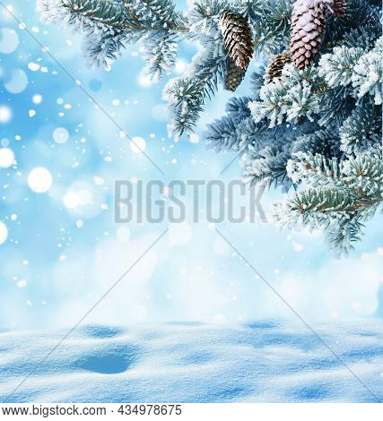 Merry Christmas And Happy New Year Greeting Background With Copy-space.winter Landscape With Snow An