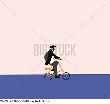 Business Man Wearing Helmet Riding A Bicycle. Man Using Pedal Transport Enjoy Healthy Lifestyle Vect