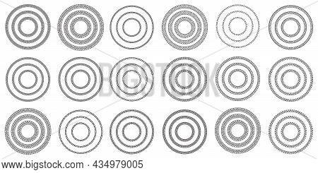 Set Of Braid Circle. Bracelet Silhouette. Luxury Art Design. Chain Seamless Border. Vector Illustrat
