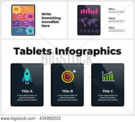 Tablet Infographic Template Presentation. Electronic Device Mockups. 3 Steps Chart. Business Icons.