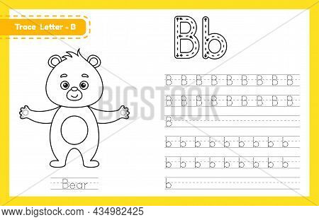 Trace Letter B Uppercase And Lowercase. Alphabet Tracing Practice Preschool Worksheet For Kids Learn