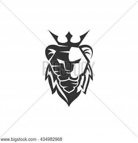 Lion Head Crown Mascot Emblem Template Brand Modern