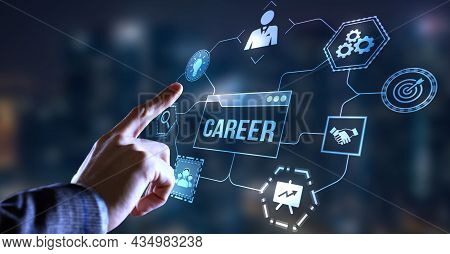 Internet, Business, Technology And Network Concept.coach Motivate To Career Growth. Personal Develop