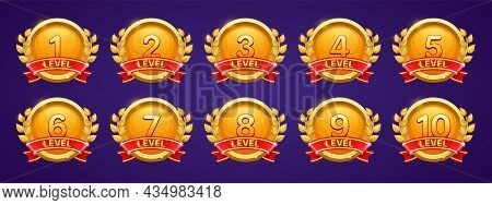 Gold Badges With Level Number For Game Ui Design. Vector Cartoon Icons Of Golden Medals With Red Rib