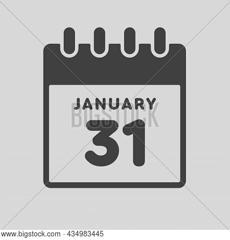 Icon Day Date 31 January, Template Calendar Page