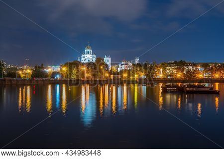 Night On A Pond In The Center Of The City