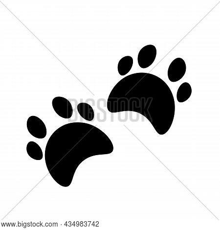 Flat Cartoon Animal Footprint Silhouette. Cat Or Dog Foot Web Icon, Unknown Animal. Black Print Paw