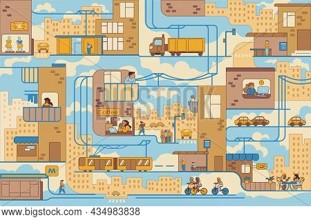 Pattern Of Busy City Life Vector Illustration. Cityscape With Streets, Houses, Roads, Cars, Cafes Fl