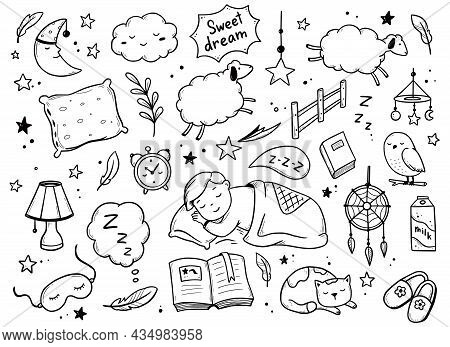 Sleep, Relax Time, Dream Night Doodle Set On White Background. Concept Comfort Night Sleep Time. Han