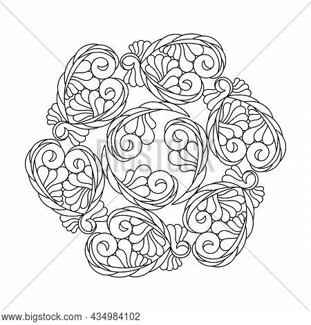 Mandala. Coloring Book For Adults And Older Children . Abstract Curls, A Fantasy Composition, Floral
