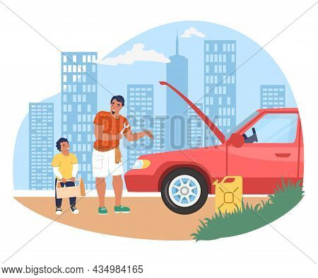 Father Fixing Broken Car With Son Holding Toolbox, Flat Vector Illustration. Parent Child Relationsh