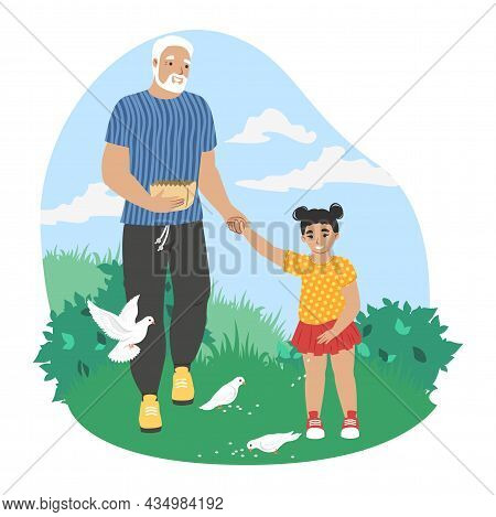 Grandfather Walking With Granddaughter Feeding Doves In Park, Vector Illustration. Grandparent Grand