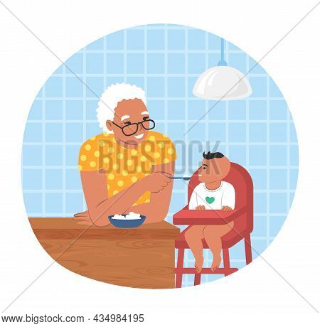 Happy Grandmother Feeding Grandson Sitting In Baby Chair, Flat Vector Illustration. Grandparent Gran