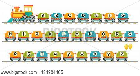 Train Alphabet For Kid In Cartoon Style. Capital Letters Only. Vector Abc Letters For Children Educa