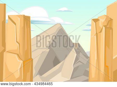 Rocky Cliffs. Desert Natural Landscape With Stones. Illustration In Cartoon Style Flat Design. Rough
