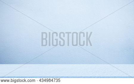 Empty Blue Studio Room Cement Floor Background. Table Shelf Interiors Montage Display Backdrop. Blan