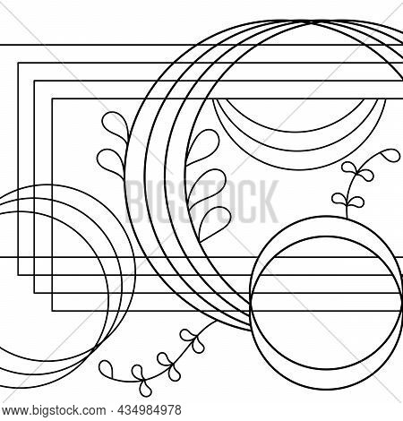 Coloring Book For Adults And Older Children. Abstract Geometry, Fantasy Composition Of Circles, Rect