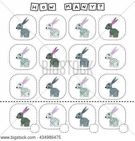 How Many Counting Game With Funny  Rabbits. Worksheet For Preschool Kids, Kids Activity Sheet, Print