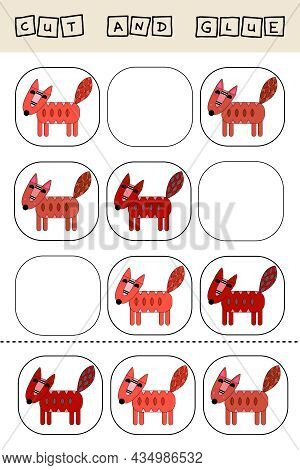 Sudoku For Kids With Funny Forest Animals Foxes . Children's Puzzles. Preschool Worksheet, Kids Acti