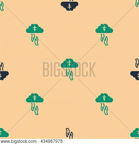 Green And Black Gods Helping Hand Icon Isolated Seamless Pattern On Beige Background. Religion, Bibl