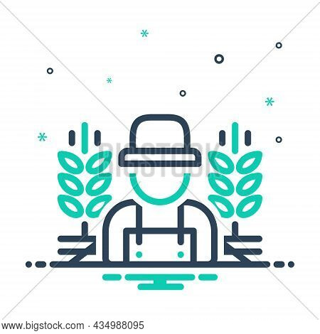 Mix Icon For Rural Country-man Predial Crops Prolificacy Field Agricultural Farming Agrarian Farmer