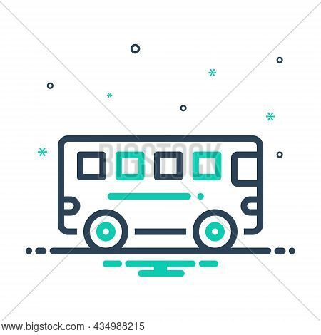 Mix Icon For Bus Transport Commercial Passenger Public Station Carriage Transit Conveyance Transport