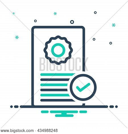 Mix Icon For Possess Acquire Documents Certificate Qualification Ownership Recognition Verified Nota