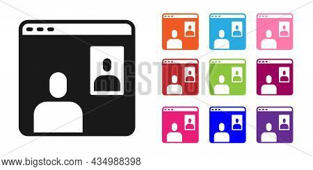 Black Video Chat Conference Icon Isolated On White Background. Computer With Video Chat Interface Ac