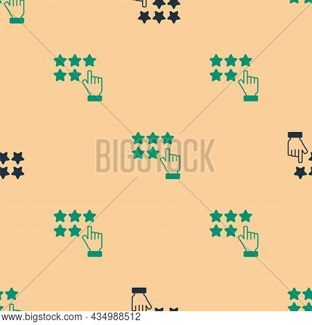 Green And Black Five Stars Customer Product Rating Review Icon Isolated Seamless Pattern On Beige Ba