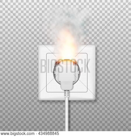 Fire Wiring. Realistic Socket And Plug On Fire From Overload. Electrical Safety Concept. Short Circu