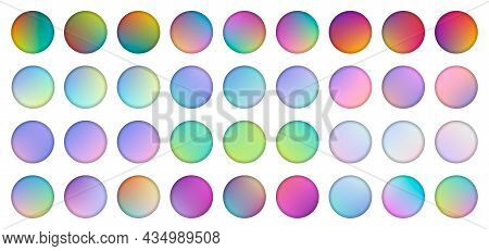 Set Of Rounded Holographic Gradient Sphere Button. Multicolor Green Purple Yellow Orange Pink Cyan F