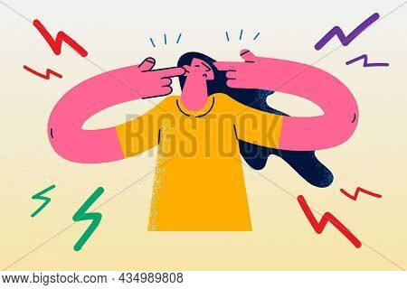 Headache, Stress And Pain Concept. Young Stressed Irritated Woman Cartoon Character Standing Touchin