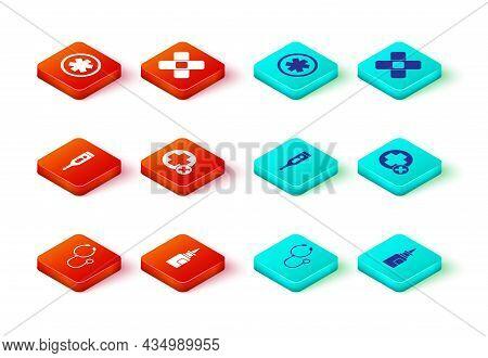Set Stethoscope, Bottle Nasal Spray, Medical Digital Thermometer, Cross Hospital Medical, Crossed Ba