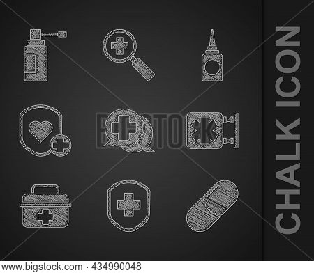 Set Dialogue With The Doctor, Medical Shield Cross, Medicine Pill Tablet, Symbol Of Emergency, First