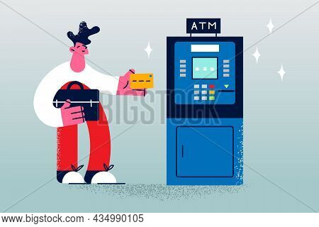 Withdrawal Cash Money In Atm Concept. Young Man Cartoon Character Standing Holding Credit Card Ready