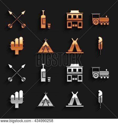 Set Indian Teepee Or Wigwam, Retro Train, Feather Pen, Cactus, Wild West Saloon, Crossed Arrows And