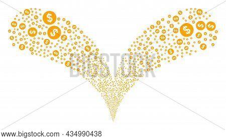 Dollar Coin Double Fireworks Salute. Dollar Coin Burst Double Fountain. Object Fountain Is Created F