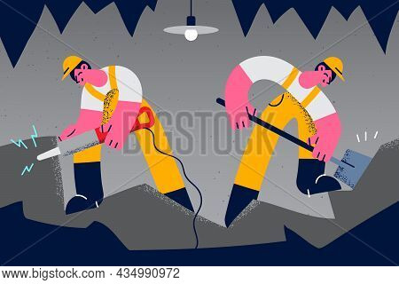 Working As Miners On Mine Vector Illustration. Two Young Men Miners In Helmets And Uniform Working I