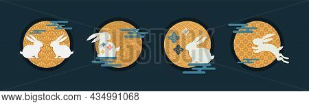 Mid Autumn Festival Icons. Traditional Asian Moon And Clouds. Asian Harvest Traditional Festival. Ch