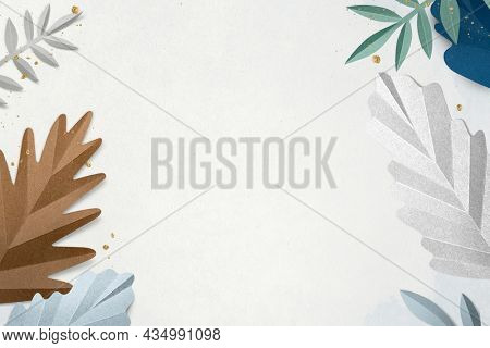 Paper craft leaf border in winter season flat lay style